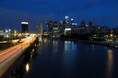 Long exposure of the Philadelphia skyline during the blue hour from the South street bridge.