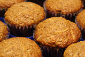 Carrot muffins with cream cheese filling