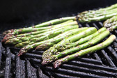 Asparagus grilling on the barbeque.