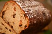 Sliced loaf of cinnamon raisin bread.