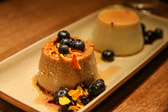 Vanilla flan combined with a corn flan for dessert at Frontera Grill in Chicago, Illinois.