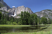 View of Upper Yosemite Falls from the Valley floor in Yosemite National Park in California.