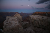 Moon rising over Vishnu temple at Grand Canyon National Park in Arizona.