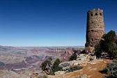 Desert View Watchtower at the Grand Canyon National Park in Arizona overlooking the Colorado river.