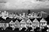 Painted ladies all in black and white in San Francisco, California