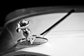 Black and white image of the hood ornament on a 1932 Packard 900 Light Eight