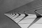 Black and white image of the sundial Bridge in Redding, California.