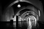 Black and white image inside the Santa Barabara Courthouse in Santa Barbara, California.