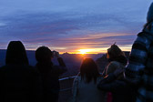 Watching the sun rise at the Grand Canyon National Park.