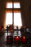 Candles at the Chapel of the Holy Cross in Sedona, Arizona.