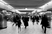 Rush hour at the Boston subway (MBTA) in black and white.