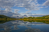 View of Mount Moran from Oxbow Bend at Grand Teton National Park in Wyoming